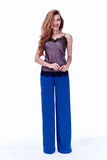 Mody kobiety ciała kształta stylowej perfect brunetki włosiana odzież błękitny p Zdjęcia Royalty Free