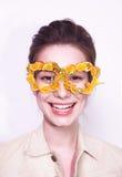 Mody kobiety maski okularów przeciwsłonecznych projekta dekoracyjny portret Zdjęcia Stock