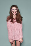 Mody kobiety maski okularów przeciwsłonecznych projekta dekoracyjny portret Zdjęcie Stock