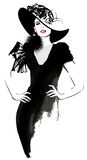 Mody kobiety model z czarnym kapeluszem ilustracji