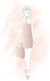Mody kobiety model z torbą ilustracja wektor