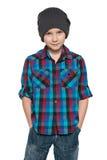 Mody młoda chłopiec w kapeluszu obrazy royalty free