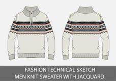 Mody nakreślenia techniczni mężczyzna dziają pulower z jacquard Zdjęcie Royalty Free