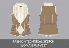 Mody nakreślenia technicznej kobiety futerkowa kamizelka Zdjęcia Royalty Free