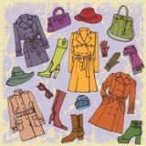 Mody odzież Jesień, zima, wiosny kobieta odziewa royalty ilustracja