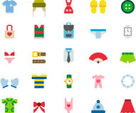 Mody odzież i akcesoria ikony set Fotografia Stock