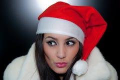mody piękna dziewczyna Santa Fotografia Royalty Free