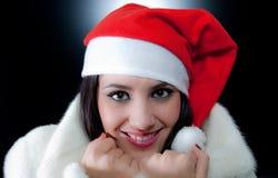 mody piękna dziewczyna Santa Zdjęcie Royalty Free