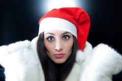 mody piękna dziewczyna Santa Obraz Stock