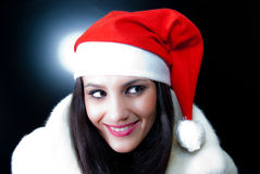 mody piękna dziewczyna Santa Fotografia Stock