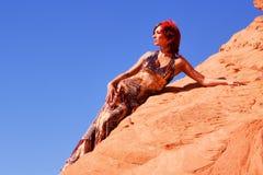 mody piękna smokingowa etniczna kobieta Obrazy Royalty Free