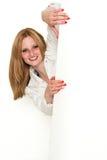 Młody piękno biznesowej kobiety zerkanie wokoło a Fotografia Stock