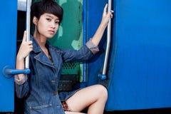 Mody portreta azjata dziewczyna Zdjęcia Royalty Free