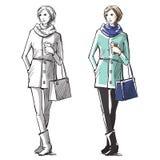 Mody ręka rysująca ilustracja Uliczna moda royalty ilustracja