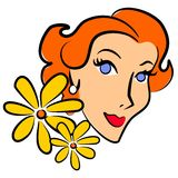 mody retro rudej kobiety ilustracji