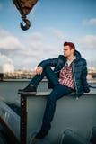 Mody stylowa fotografia przystojny mężczyzna Obraz Royalty Free