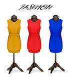 Mody tło z kolorowymi sukniami Zdjęcie Stock