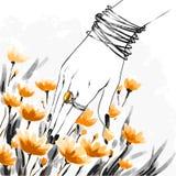 Mody watercolour ilustracja, flirtuje zmysłowej dziewczyny royalty ilustracja