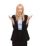 Młody zmieszany bizneswoman z rękami up Obrazy Royalty Free