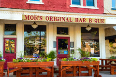 Moe`s BBQ. GRANVILLE, OH - MAY 15, 2017: With over 60 locations, Granville is so far its only Ohio location for Moe's Bar B Que, which serves Alabama royalty free stock image