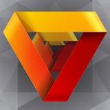 Moebius origami红色和橙色纸三角 库存照片