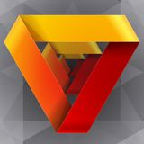 Moebius origami red and orange paper triangle Stock Photo