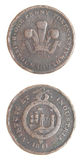 Moeda 1811 de cobre escassa simbólica da moeda de um centavo de Grâ Bretanha Imagem de Stock