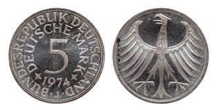 Moeda alemão cinco de Alemanha 5 marcas, moeda da circulação, de prata, minted 1974 imagem de stock royalty free