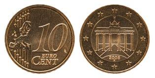 Moeda alemão de Alemanha do euro- centavo 10, parte anterior 10 e porta de Europa, Brandemburgo da parte traseira imagem de stock royalty free