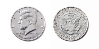Moeda americana do meio dólar, cinqüênta centavo, 50 c, isolador do dólar dos EUA 1/2 fotografia de stock royalty free