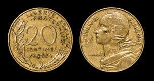 Moeda antiga de 20 centimes Fotografia de Stock Royalty Free