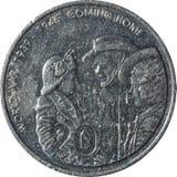 A moeda australiana de vinte-centavo que comemora o 60th aniversário da extremidade da guerra mundial 2 fotografia de stock