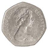 moeda britânica de 50 moedas de um centavo Foto de Stock Royalty Free