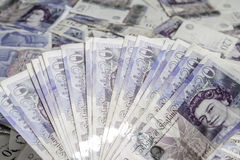 Moeda britânica Fã de Ingleses cédulas de 20 libras Fundo Imagens de Stock