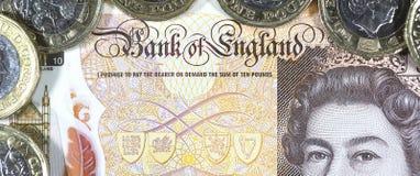 Moeda britânica - polímero novo nota de dez libras fotos de stock
