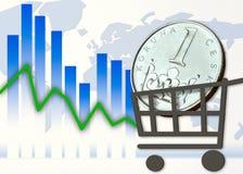 Moeda checa no carrinho de compras e no gráfico Fotos de Stock