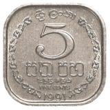 Moeda cingalesa de 5 centavos da rupia Fotografia de Stock Royalty Free