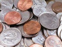 Moeda-Com moedas de um centavo Foto de Stock