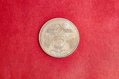 Moeda comemorativa de URSS um rublo na memória do primeiro astronauta Yuri Gagarin imagem de stock