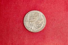 Moeda comemorativa de URSS um rublo na memória do 70th aniversário da revolução de outubro Fotos de Stock Royalty Free