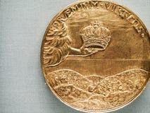 Moeda comemorativa do russo colecionável histórico do ouro Foto de Stock Royalty Free