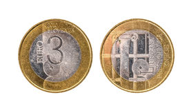 Moeda comemorativa usada de Eslovênia do ¬ do 'do â do euro do bimetal 3 do aniversário Fotografia de Stock