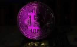 A moeda cor-de-rosa de Bitcoin BTC é cercada por um fundo sombrio imagem de stock