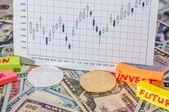 Moeda cripto com gráfico e dólar dos estrangeiros Fotografia de Stock