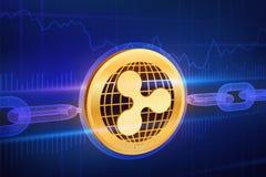 Moeda cripto Corrente de bloco ripple moeda dourada física isométrica da ondinha 3D com corrente do wireframe Conceito de Blockch ilustração royalty free