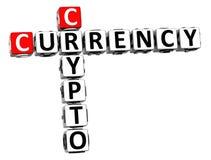 moeda cripto das palavras cruzadas 3D sobre o fundo branco Fotografia de Stock