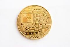 Moeda cripto em um fundo cinzento - bitcoin Imagem de Stock