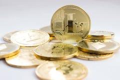Moeda cripto em um fundo cinzento - litecoins Imagem de Stock