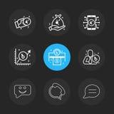 Moeda cripto, móbil, gráfico, mensagem, bate-papo, telefone, conve ilustração do vetor