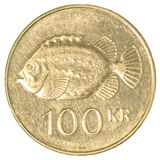 moeda da coroa 100 islandêsa Fotos de Stock Royalty Free